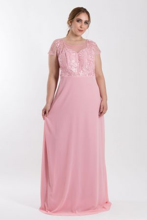 VESTIDO LONGO TULE BORDADO ROSE PS_‬PD164_8045v02rse-f