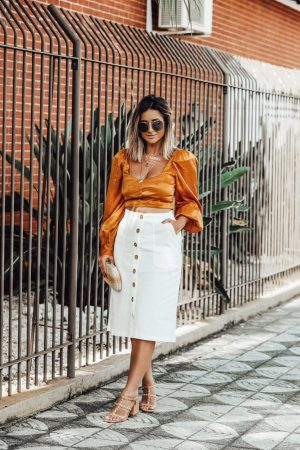 SAIA MIDI OFF WHITE JEANS