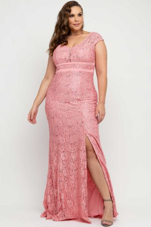 VESTIDO DE FESTA RENDA ROSE PLUS SIZE