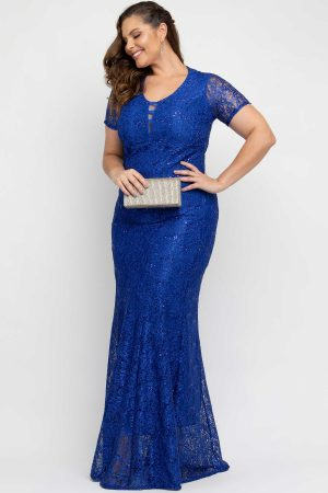 VESTIDO DE FESTA RENDA AZUL ROYAL PLUS SIZE
