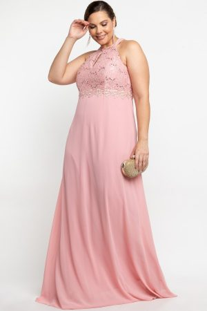 VESTIDO LONGO BORDADO RENDA ROSE PS